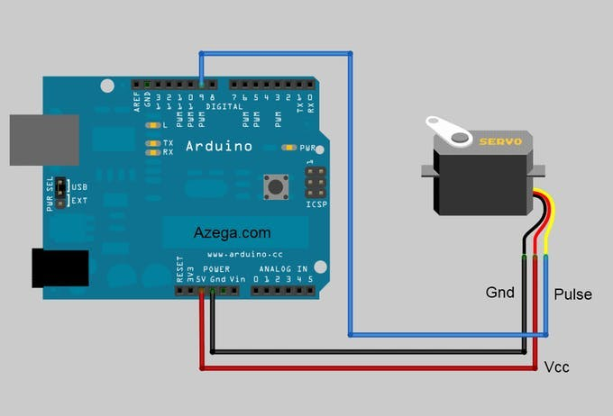 servo motor connected to Arduino