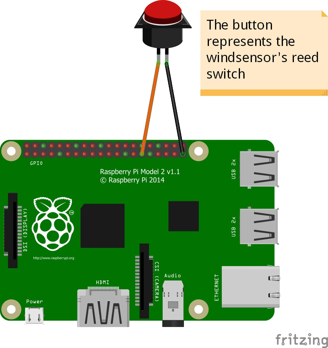 schematics for the wind sensor connecting to the gpio pins