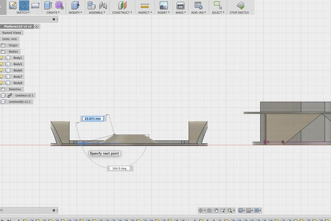 Designing the pressure point plate to interact with the FSR in Autodesk Fusion 360.