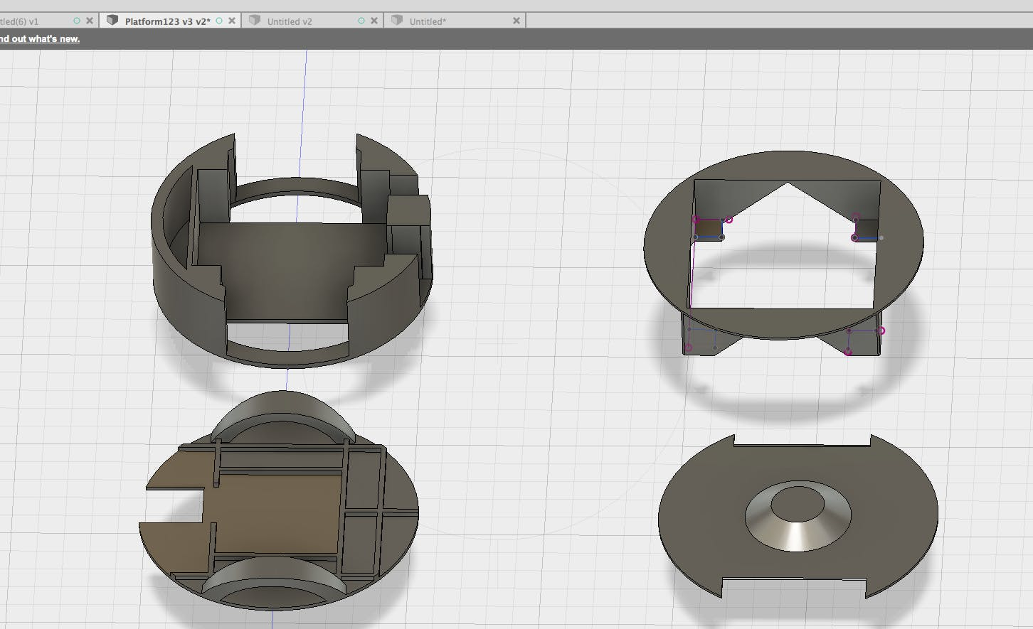 All the components in Autodesk Fusion 360 before 3D Printing.