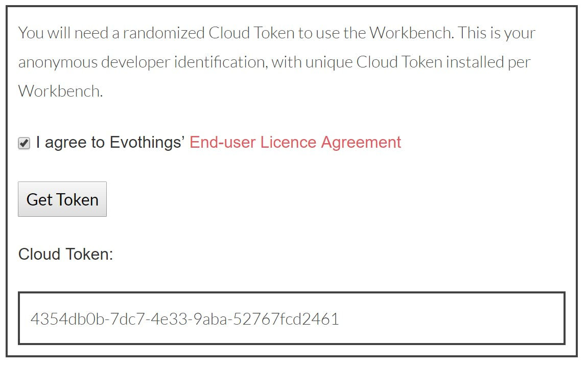 Copy and save your cloud token