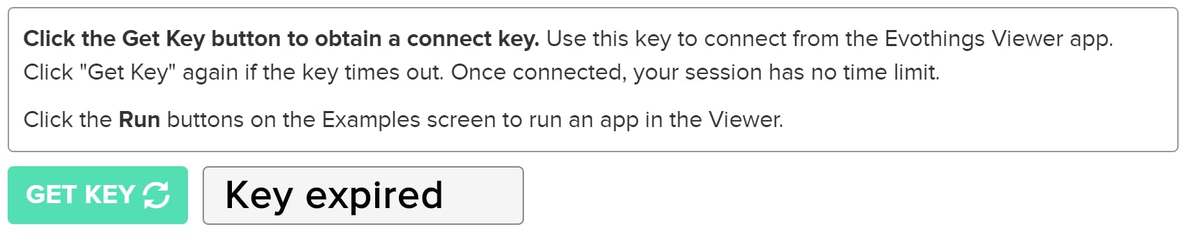 Under the Connect tab, keys are generated in the viewer.