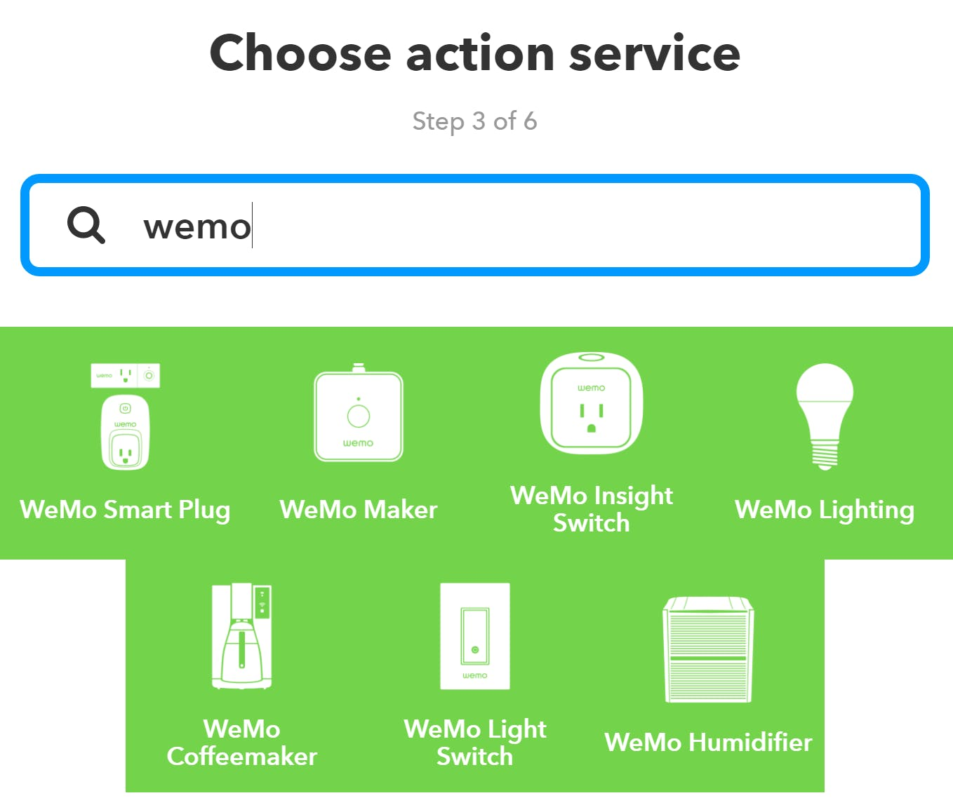 """Search """"wemo"""" and choose the appropriate device type for you. My lights are on the smart plugs."""