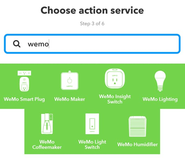 "Search ""wemo"" and choose the appropriate device type for you. My lights are on the smart plugs."