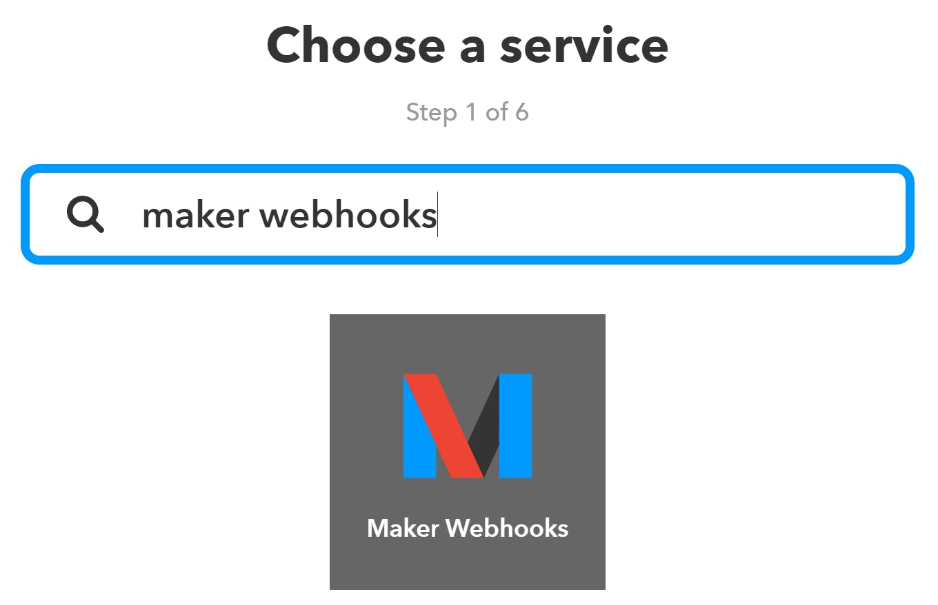 """Search for then select """"Maker Webhooks"""""""