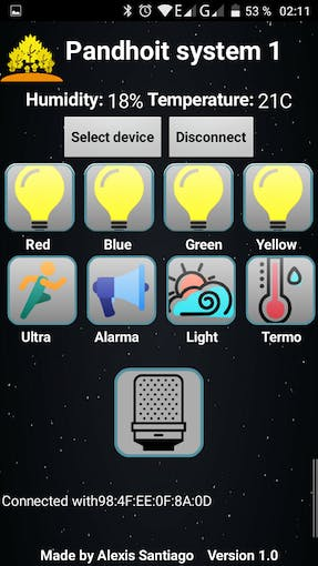 App screen with all buttons activated
