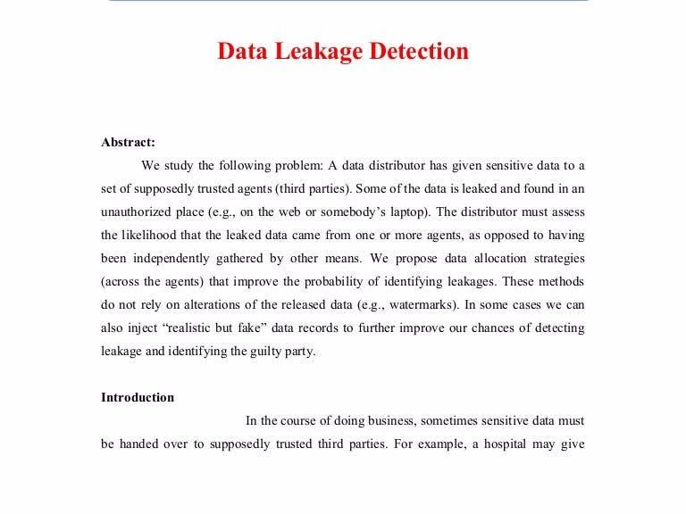 Detection of data leakage using cloud computing