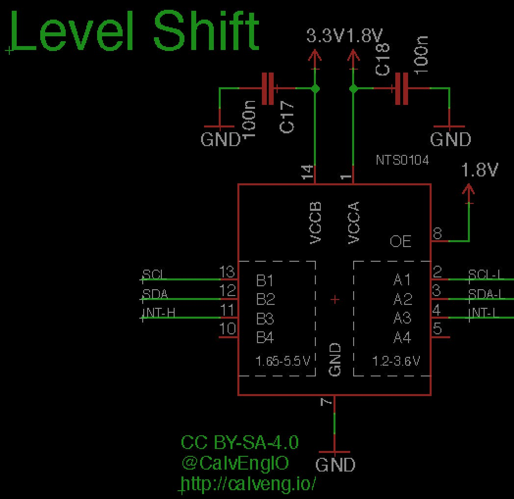 The NTS0104 level shifter translates 1.8V to 3.3V and vice versa. SCL, SDA, and INT-H are 3.3V logic level. SCL-L, SDA-L, and INT-L are 1.8V logic level.