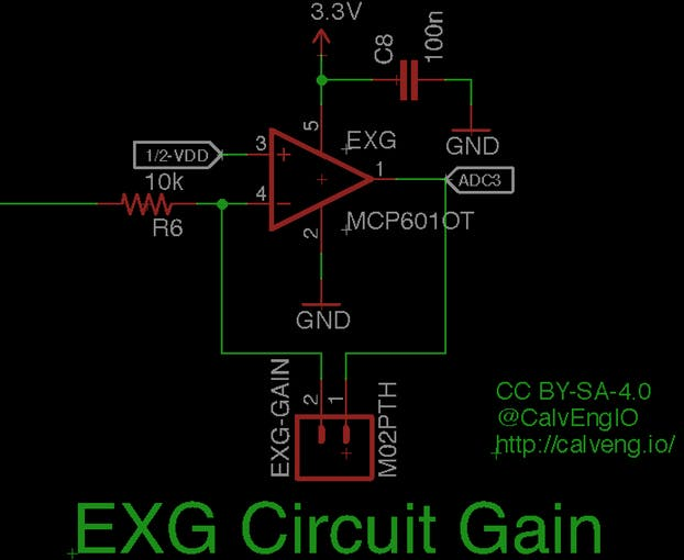Figure x. I added a second gain stage for the Biopotentials measurement circuit. The circuit configuration is of a simple inverting amplifier. The gain of the circuit is a ratio of the feedback resistance and the input resistance.