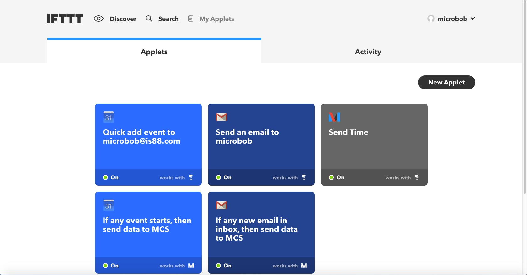 """My Applets"" page. ifttt.com/my_applets"