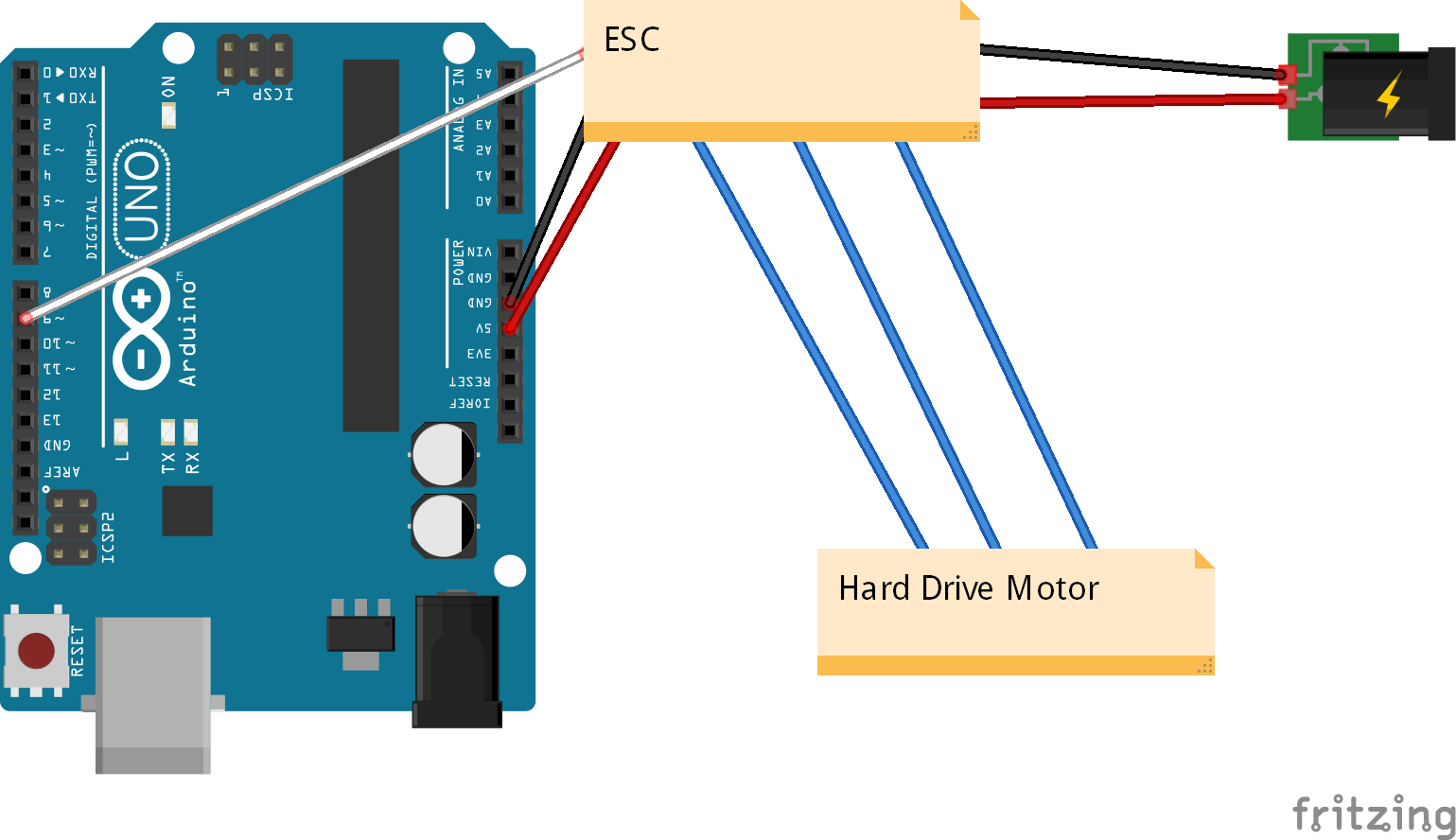 ESC Wiring(potentiometer not included)