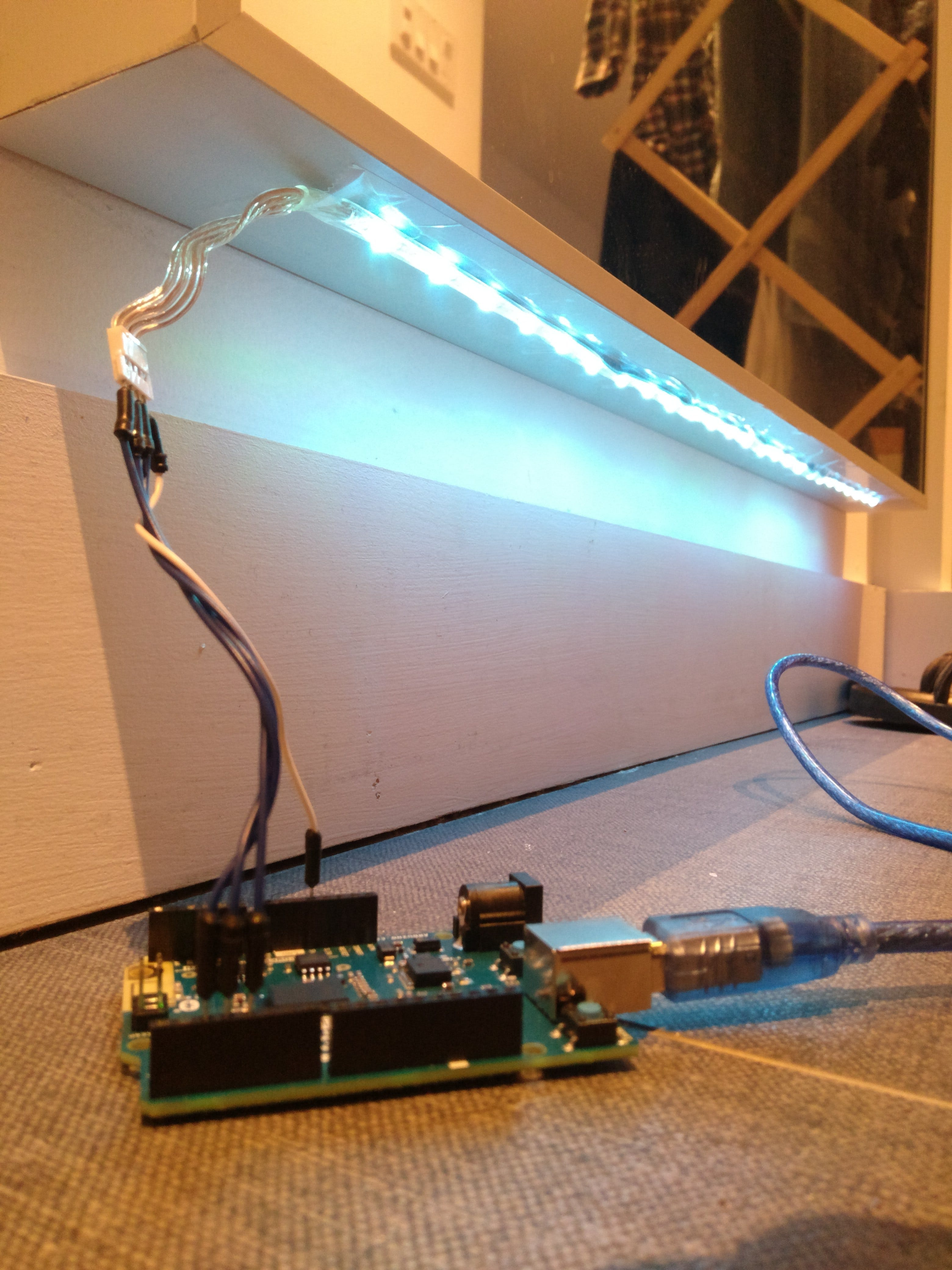 Showing off the installation of the RGB LED strip.