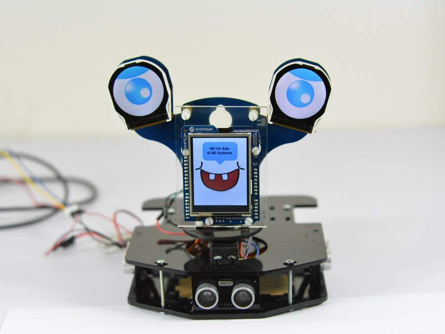 Arlo: Motion Sensing Robot featuring 4Duino-24 and uLCD