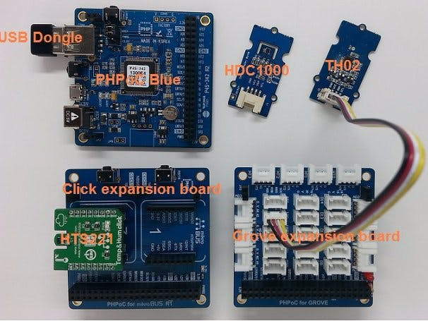 PHPoC, ThingSpeak, Temperature and Humidity Sensors