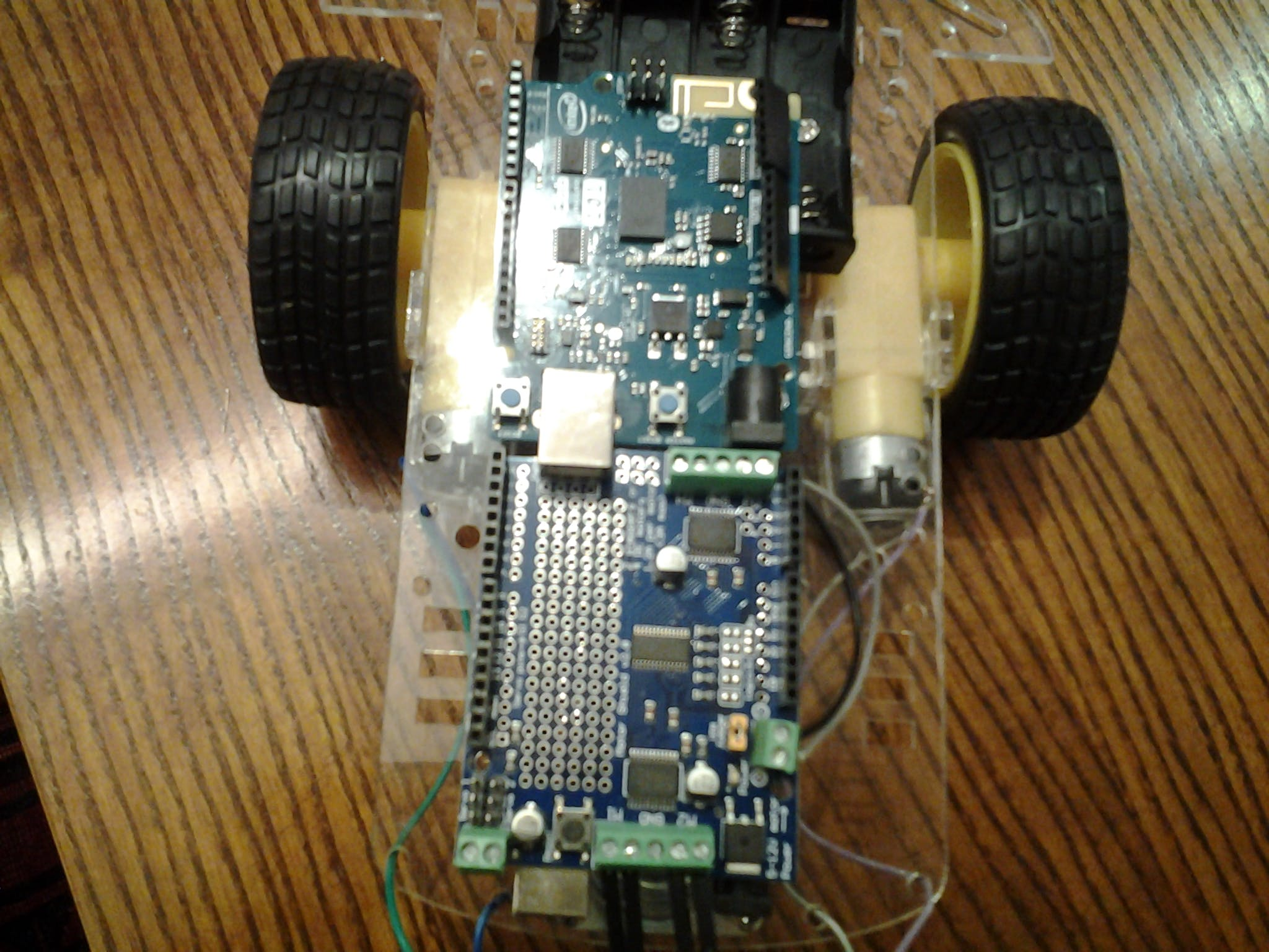 Arduino 101 Powered Car Robot. There was an attepmted to controll one of them over the cloud using ThingSpeak, Blynk or other IoT ploatforms that were discussed during idea pitches