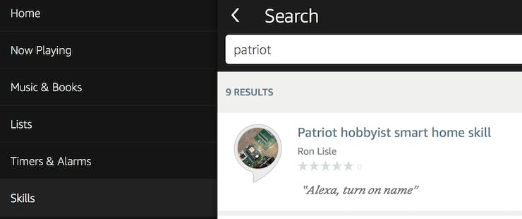 Searching for the Patriot hobbyist smart home skill