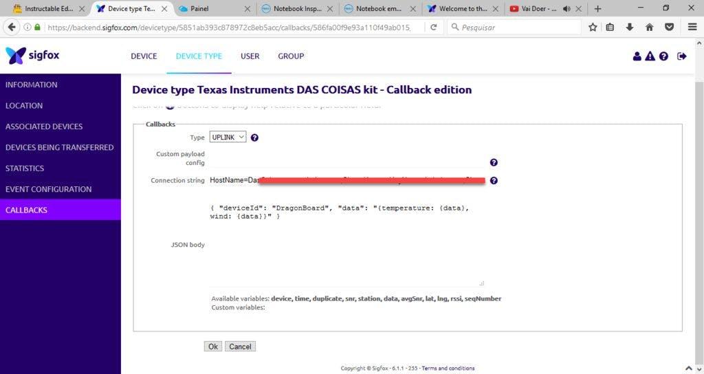 Configuring SigFox Azure Callback