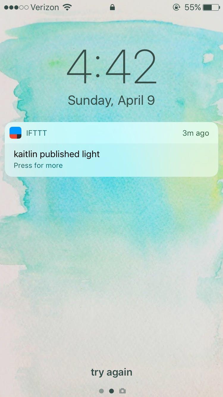 IFTTT event notification