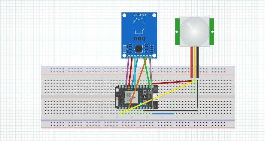 PIR and RFID Circuit Diagram