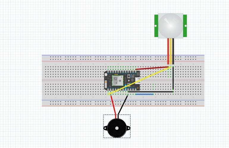 PIR and Buzzer Circuit diagram