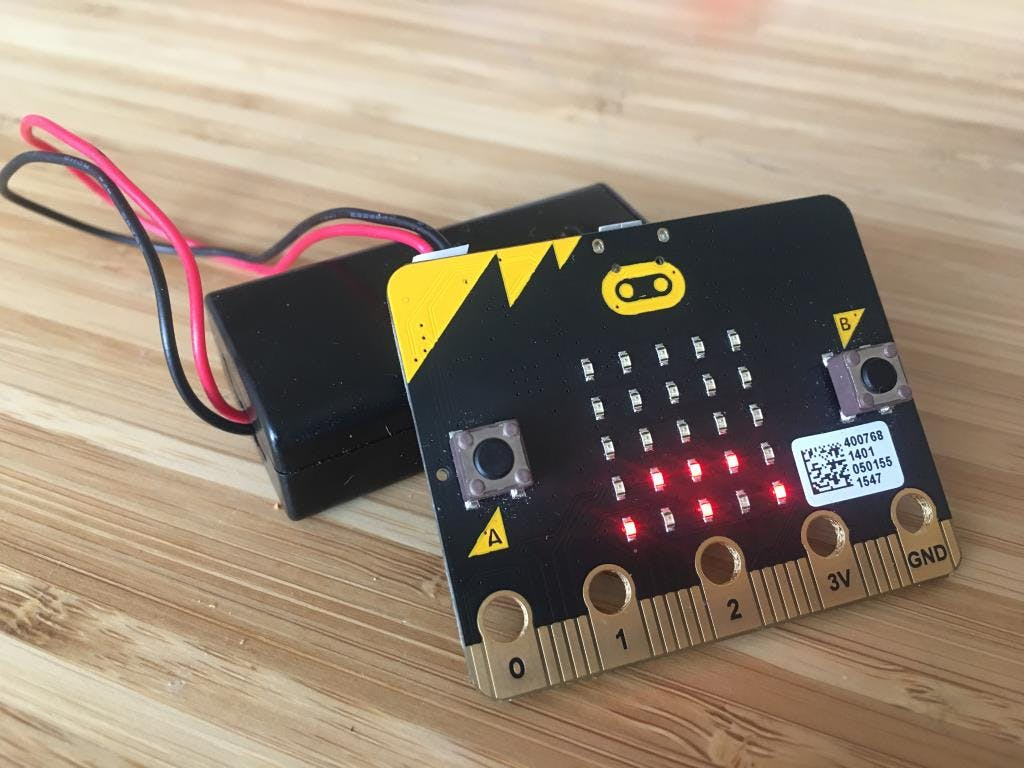 The Micro:bit displaying the light level on the screen.