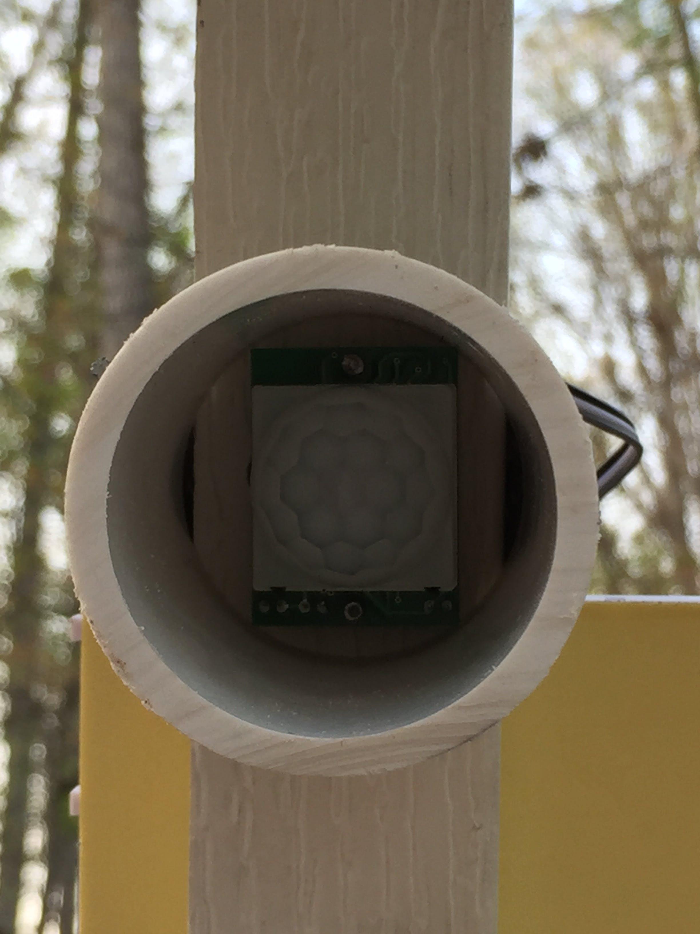 PVC piping direct PIR's viewing range to basket