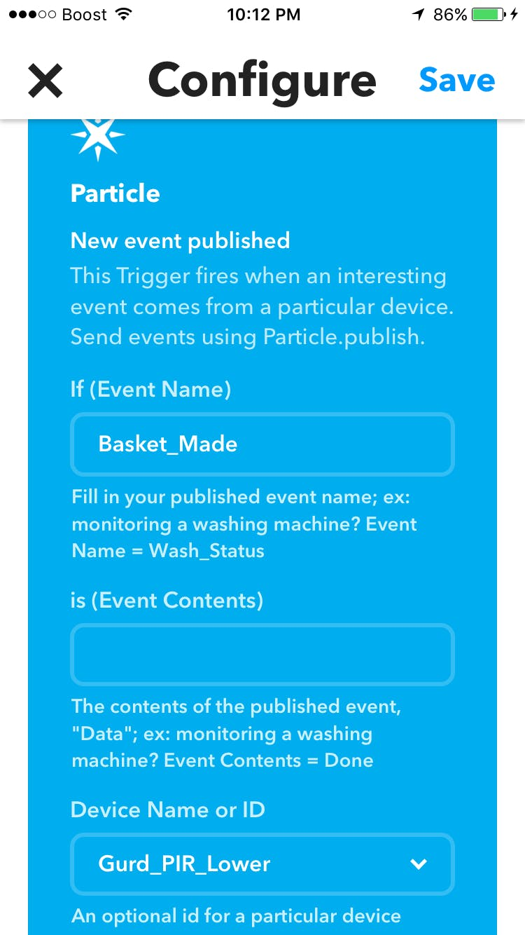 "IFTTT setup for sending ""made shot"" data to Google Sheets"