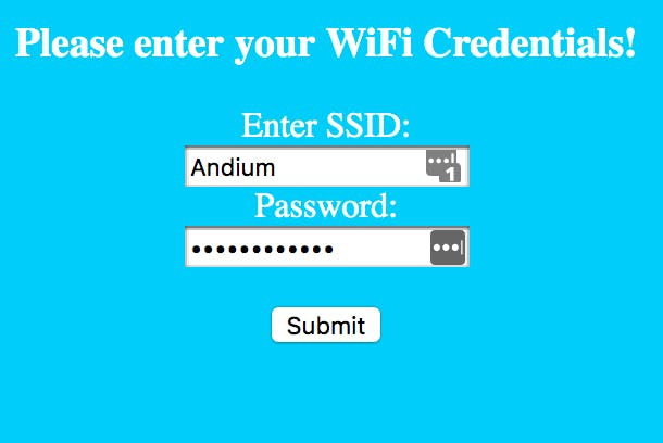 WiFi Registration page hosted by Arduino