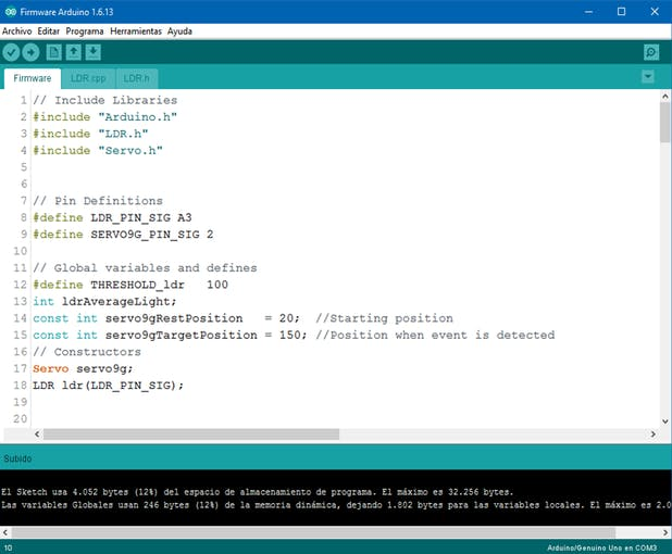 Test code provided by Circuito.io's platform