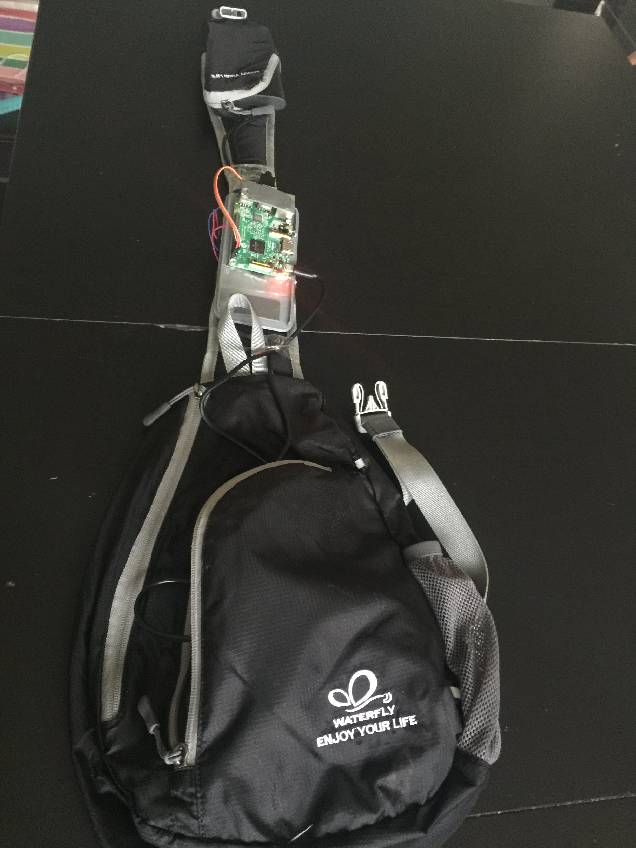 Backpack with the RPi, Walabot and haptic driver on the shoulder