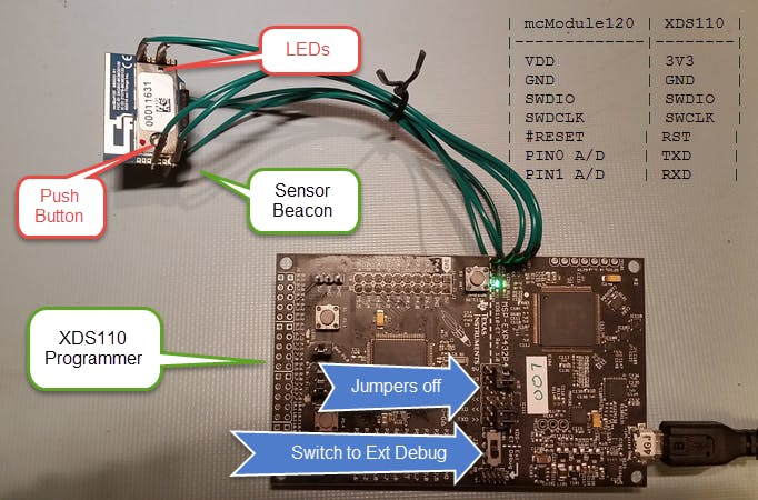 Program the mcThings mcModule120 with a TI LaunchPad XDS110 debugger
