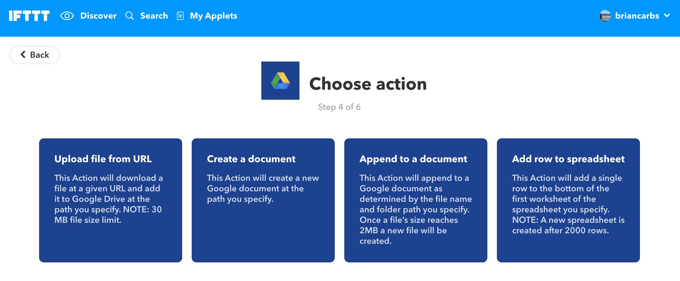 Google Drive IFTTT Applets