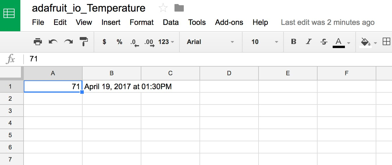Spreadsheet created via IFTTT Applet