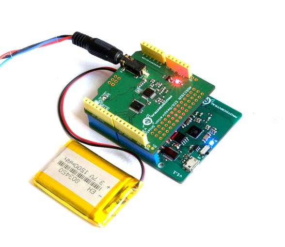 The ADS1292R ECG & Respiration shield sitting on top of a Kalam32 board.