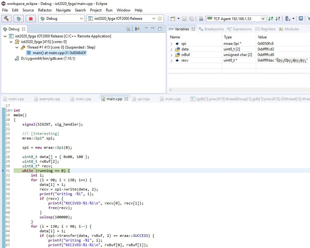 Successful Run of SPI Module of MRAA in Linux Example Image 2.1.3