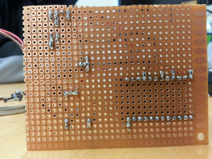Bottom of the PCB after being soldered.