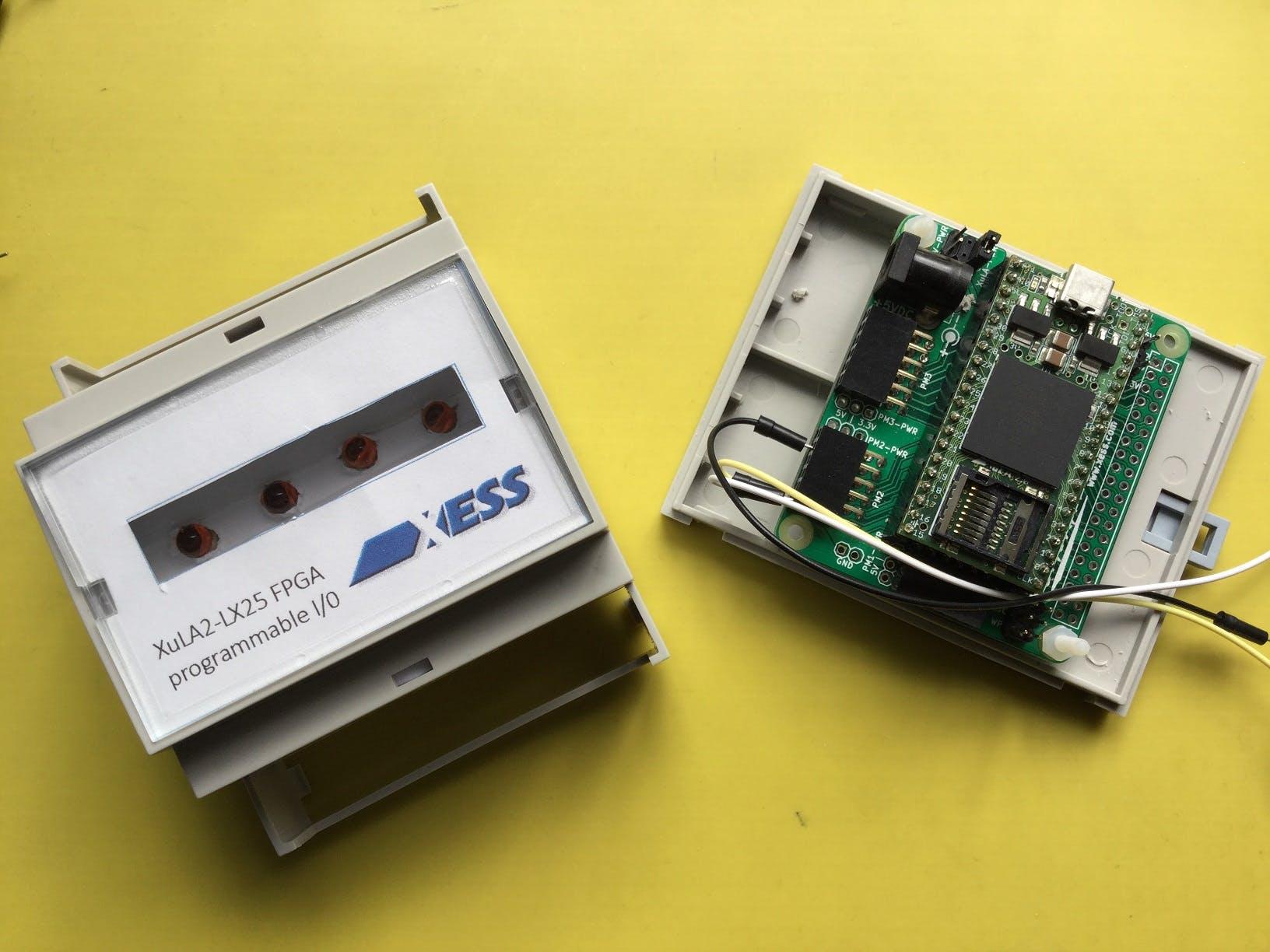 Xess XuLA2 FPGA Mounted in a Velleman 3-wide DIN Rail Box