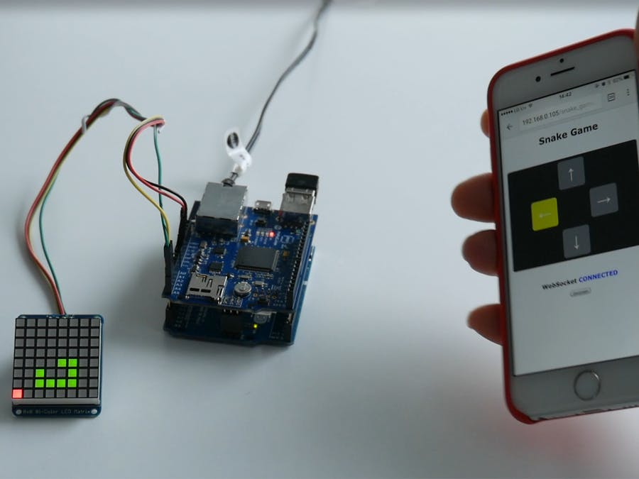 8x8 Matrix LED Snake Game (Smartphone Motion)