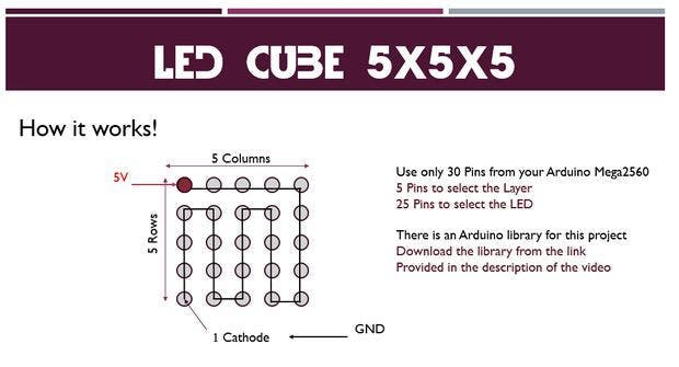 Led Cube Circuit Diagram | Led Cube 5x5x5 Arduino Project Hackster Io
