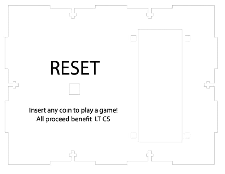 Laser cutter file for the front (vector cutouts for the button and mounting holes for the coin acceptor)