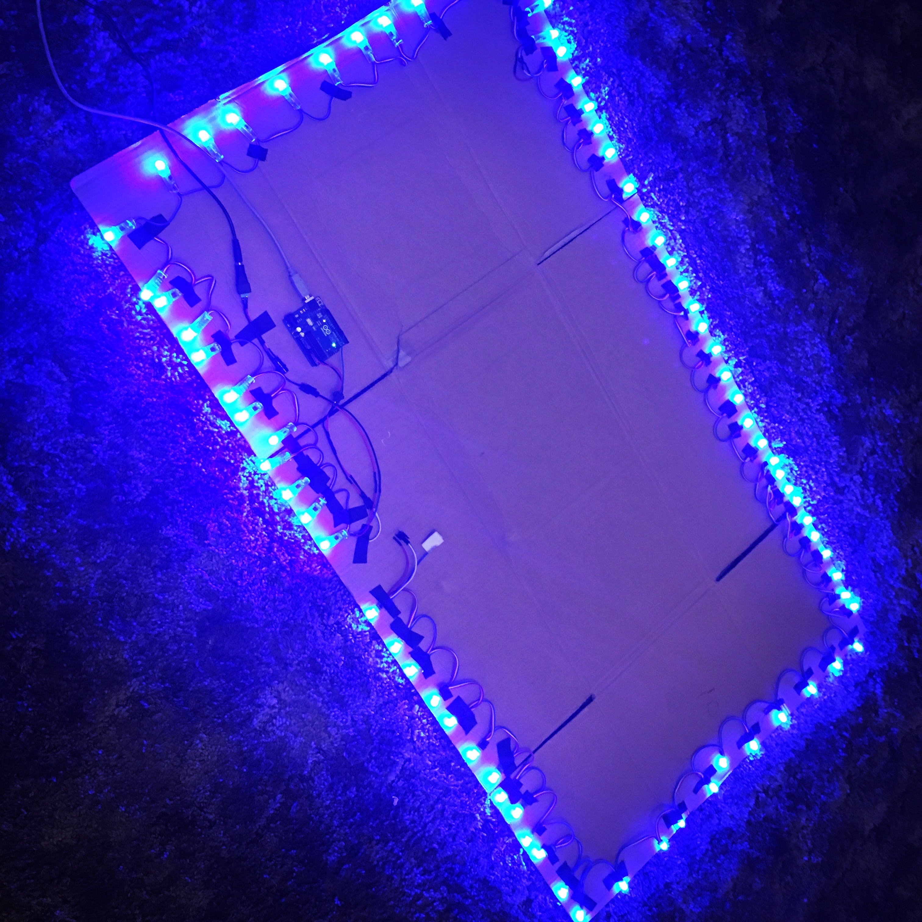 Cardboard, tape and 75 LEDs