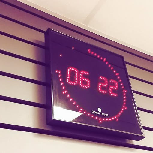 The so called 'Gorgy' clock with the characteristic LED ring for the seconds