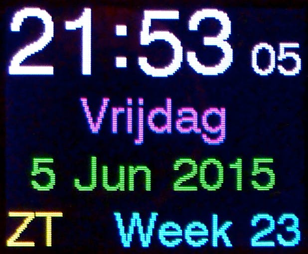 time, day of week, date, DST indication and week number