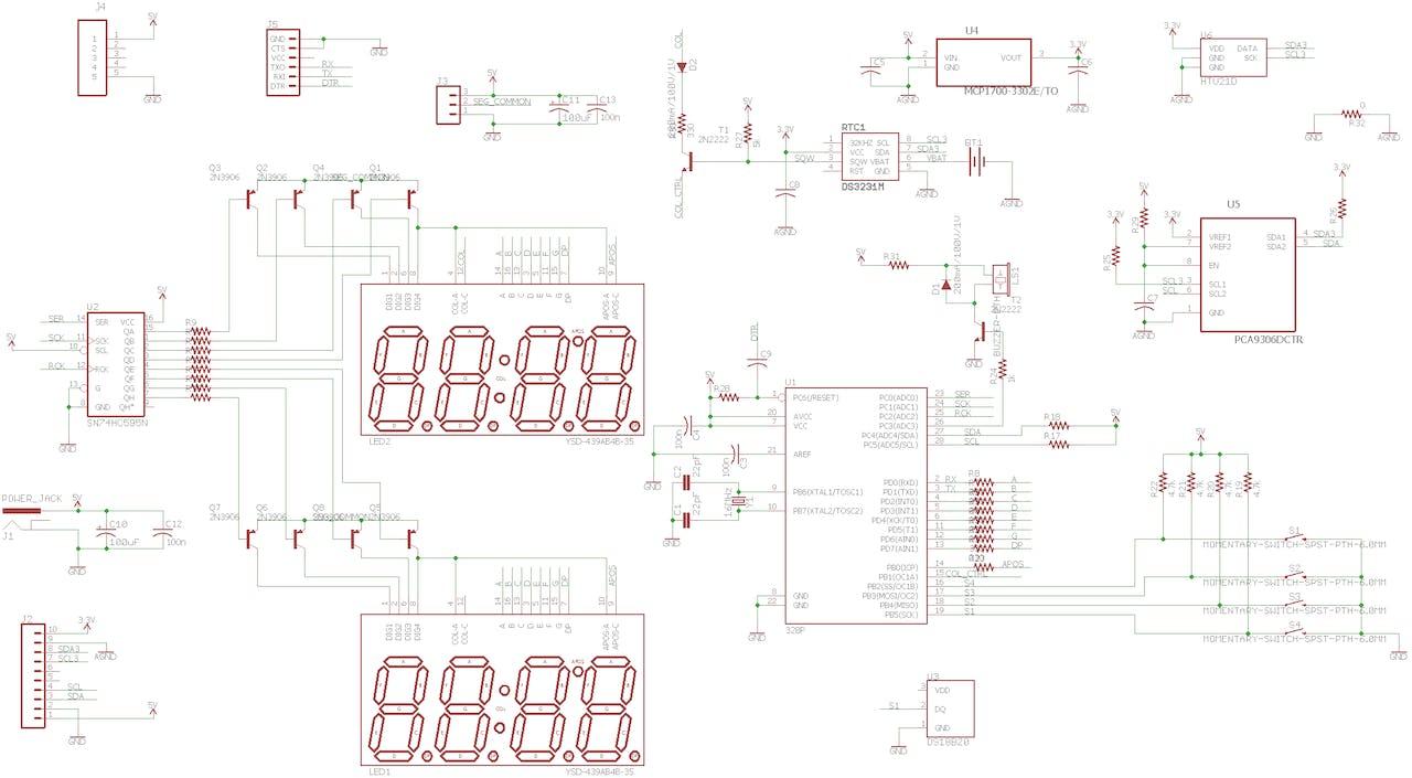 Atmega328p 7 Segment Clock With Custom Pcb V1 Circuit Diagram To Interface Pic16f877a