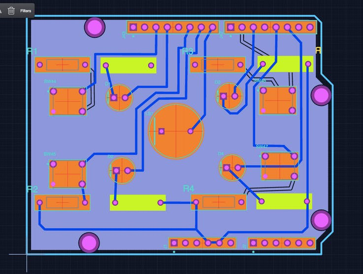 PCB with ground pour