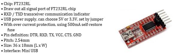 FT232RL FTDI USB 3.3V 5.5V to TTL Serial Adapter Module Specifications
