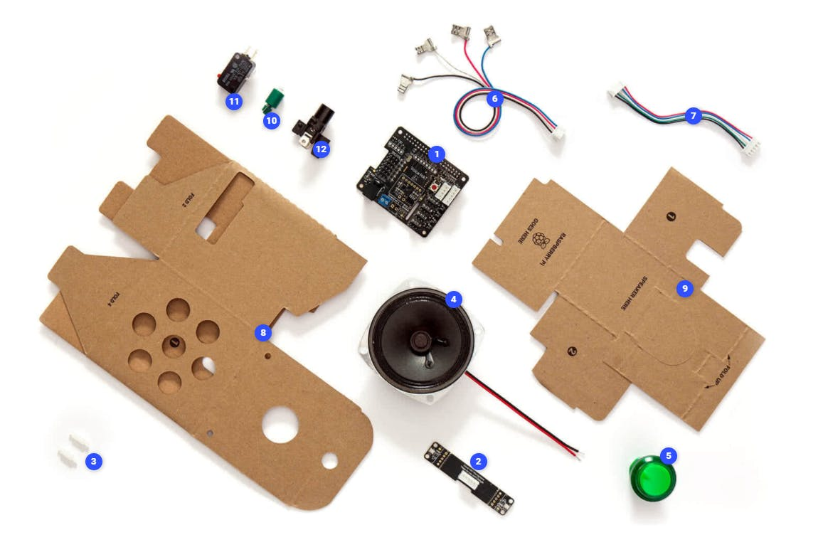 Get your Google AIY kit, you will need these components: 1, 2, 3, 6, 7.