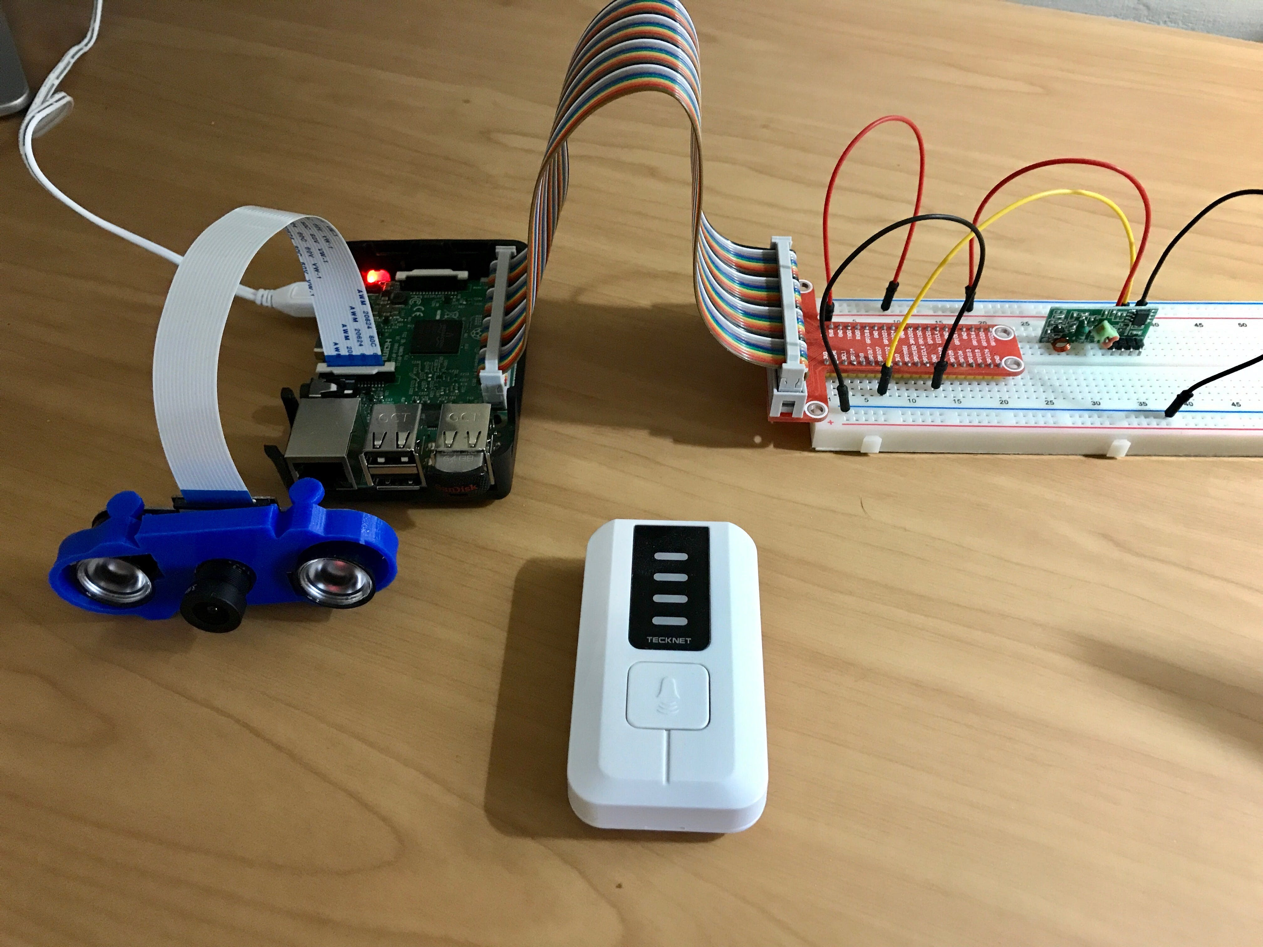Figure 5. Setup for determining the RF pulse sequence transmitted by my doorbell. The RF receiver is mounted on the breadboard.