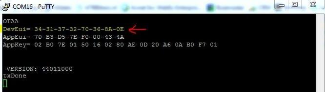 Terminal info with DevEui