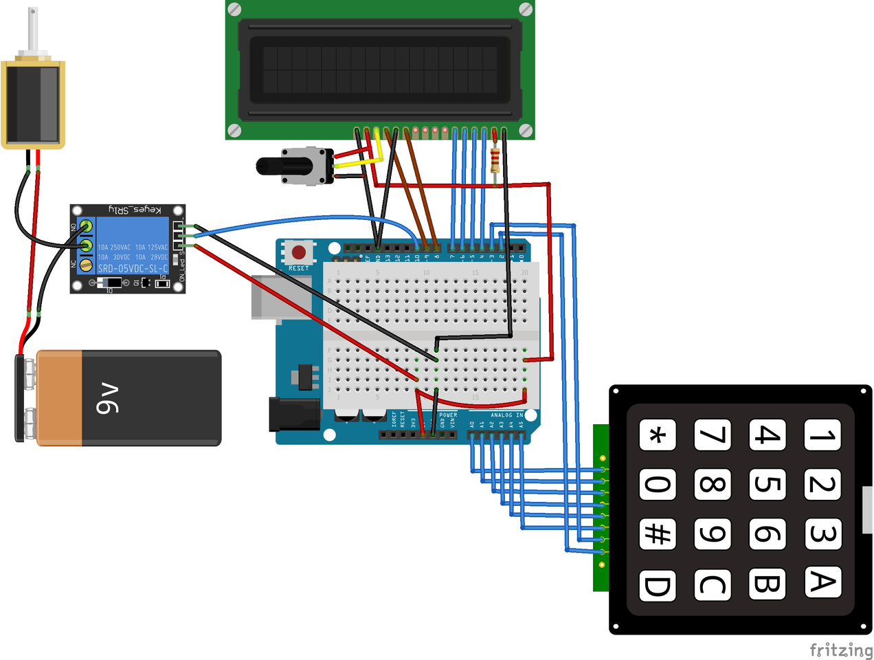Arduino Keyless Door Lock System with Keypad and LCD - Arduino